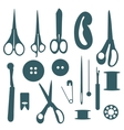 Sewing objects silhouettes set vector image vector image