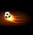 soccer ball with fire trail vector image vector image