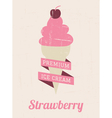 Strawberry Ice Cream Poster vector image vector image
