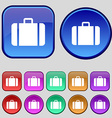 suitcase icon sign A set of twelve vintage buttons vector image vector image