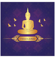 thailand buddha statue bird thai design purple bac vector image vector image