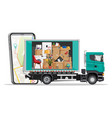 truck with household items smartphone with map vector image vector image