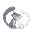 Two enamored cats 2 vector image vector image