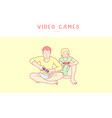 young couple playing video game hand drawn style vector image