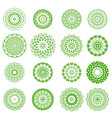 set of green floral ornaments vector image