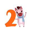 funny cute zebra animal and number two birthday vector image