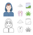 addict cocaine marijuana corpsedrug set vector image vector image