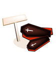 Black Coffins with Wooden Placard vector image
