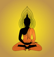 Buddha silhouette against gold background vector image vector image