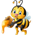 cartoon bee holding bucket with honey dripping vector image vector image