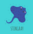 cartoon card with cute stingray vector image