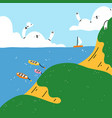 cartoon summer seascape with cute clouds vector image