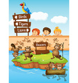 Children looking at beavers in the zoo vector image vector image