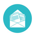 circle light blue with opened envelope mail vector image