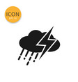 cloud with rain and thunder icon isolated flat vector image vector image