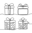 continuous line drawing set gifts box new vector image vector image