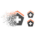 destructed dotted halftone hospital icon vector image vector image