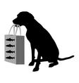Dog shopping fish vector image vector image