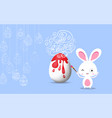 easter frame with easter eggs and bunny hand drawn vector image vector image