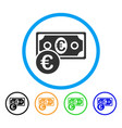 euro cash money rounded icon vector image vector image