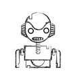 figure robot face with technology chest design vector image