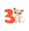 funny cute raccoon animal and number three vector image vector image