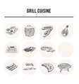 grill cuisine menu doodle icons vector image vector image
