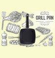 grill pan brand ads poster banner template vector image vector image