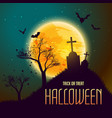 halloween background with grave in from of moon vector image