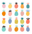 hand drawn pineapples exotic fruits cute vector image vector image