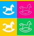 horse toy sign four styles of icon on four color vector image vector image