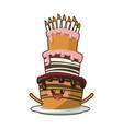 kawaii cake candle birthday party celebration vector image