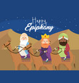 magicians kings ride camels to happy epiphany vector image vector image