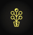 money tree icon set in flat and line style vector image vector image
