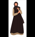 muslim girl wearing headscarf and long dress vector image