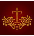 Patterned golden letter T monogram in vintage vector image vector image