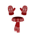 red knitted scarf and gloves vector image vector image