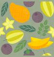 seamless pattern mango carambola mangosteen vector image