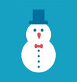 snowman icon cylindrical hat with bow and buttons vector image
