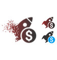 sparkle pixel halftone business startup rocket vector image vector image
