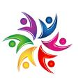 Swooshes figures help teamwork logo vector image vector image