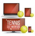 tennis application court tennis ball vector image