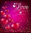 transparent red heart balloons on purple backgroun vector image vector image