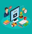 webinar isometric colored concept vector image vector image