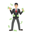 Happy super rich successful businessman raises his vector image