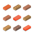 a set of isometric bricks vector image vector image