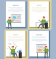 analysis poster with businessmen at board or table vector image vector image