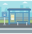Background of bus stop with skyscrapers behind vector image