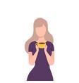 beautiful blonde girl drinking coffee or tea vector image vector image