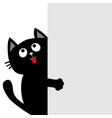 black cat holding big empty signboard looking up vector image